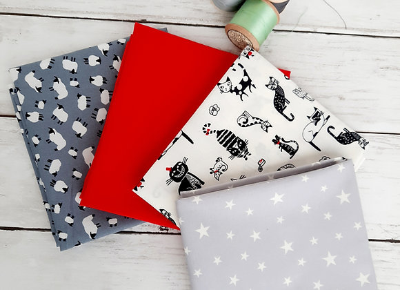 Grey and red fat quarter bundle