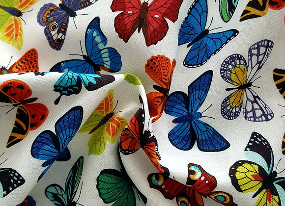 Beautiful butterflies multicoloured cotton fabric