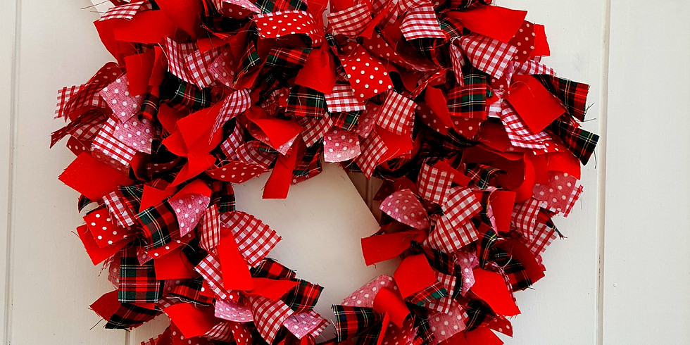 Heart shaped fabric wreath