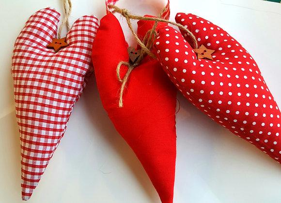Set of 3 scandi hanging hearts