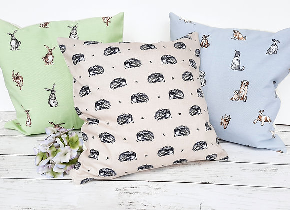 Country cushion covers hedgehog, hare or dogs