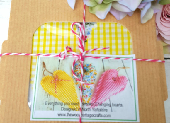 Hanging hearts craft kit pinks and yellows