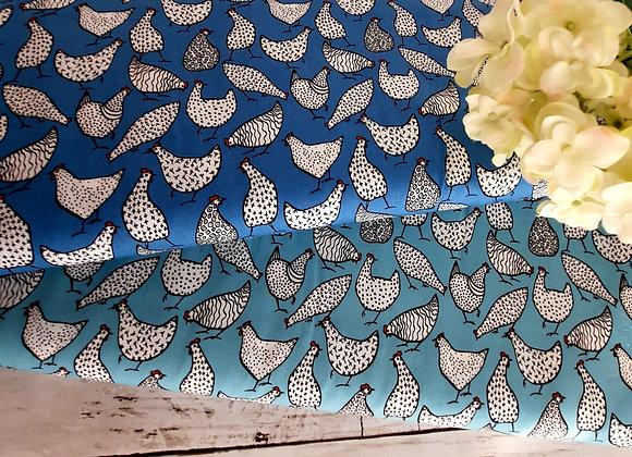 Copen or duck egg blue hen cotton fabric