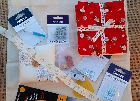 Sewing starter kit bag with fabric
