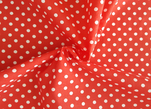 Red and white polka dot fabric