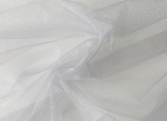 Silver glitter tulle fabric