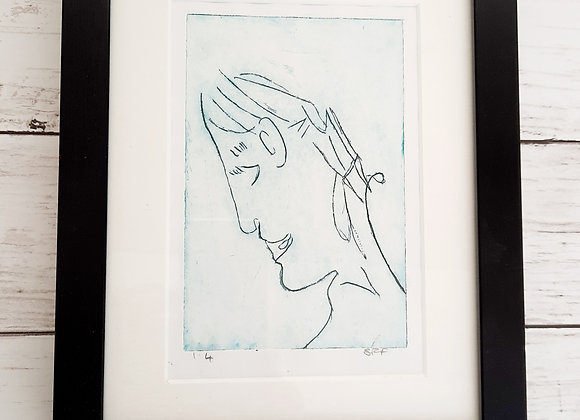 The green lady  acid etched print in black box frame