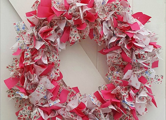 Rag wreath kit pinks