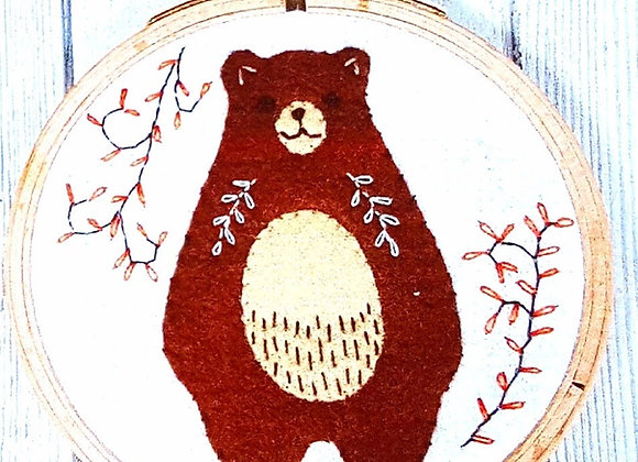 Bear hoop embroidery craft kit