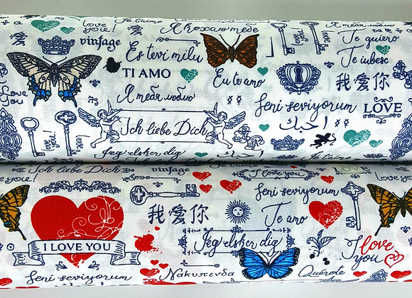 Rose and Hubble cotton butterflies and hearts fabric