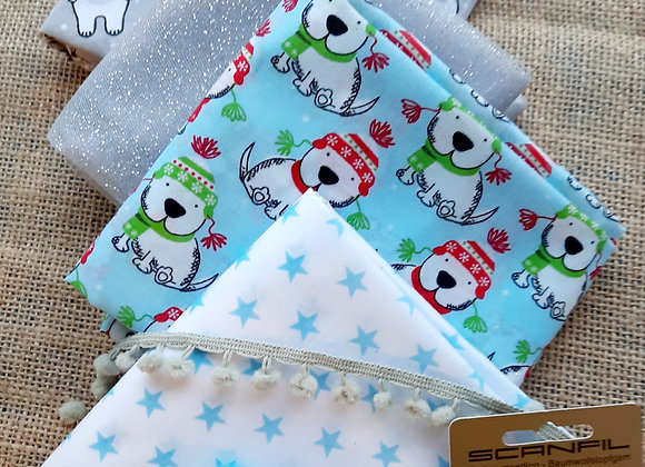 Christmas craft bundle: 4 x 1/2 metres of fabric plus trimmings