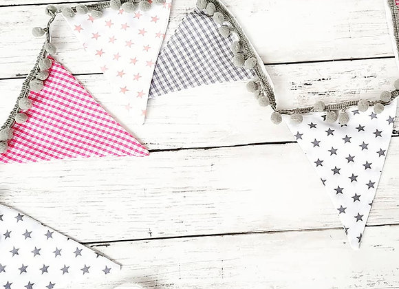 Nursery bunting pinks and greys