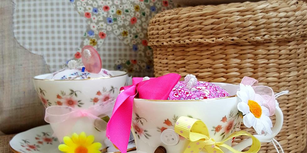 Vintage Teacup pincushion workshop