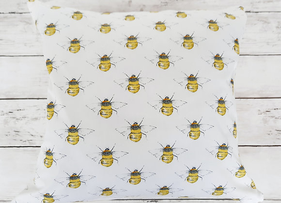 Bee cotton print cushion cover