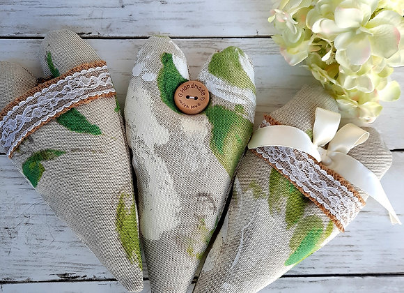 Trio of hanging hearts green and cream