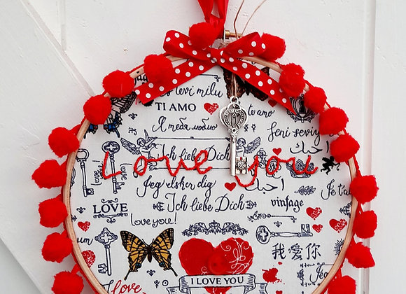 I love you hoop wall hanging