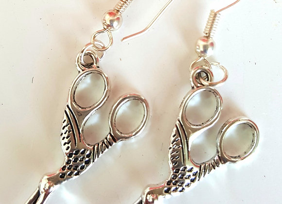 Stork scissor earrings