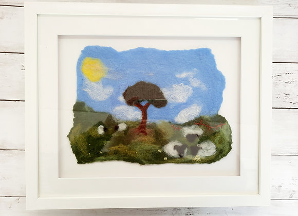 Wet felted and embroidered country pictures in box frame