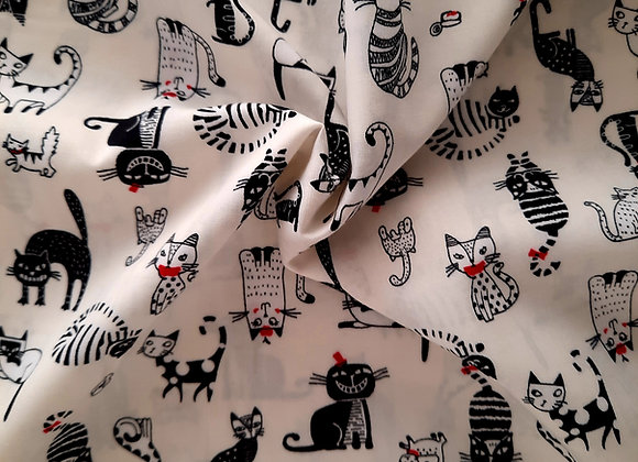 Cotton cat and ivory fabric