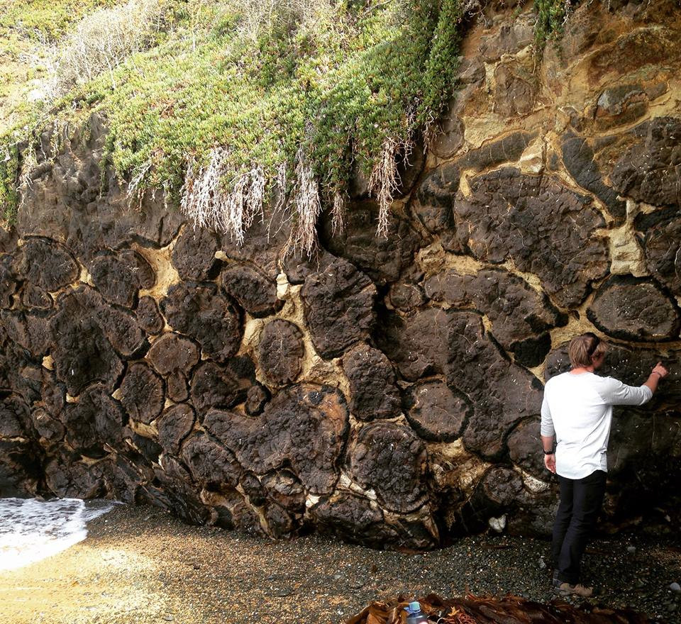 Person exploring pillow lava at beach