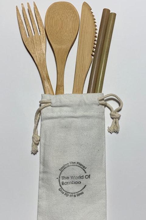 bamboo utensil straw bundle