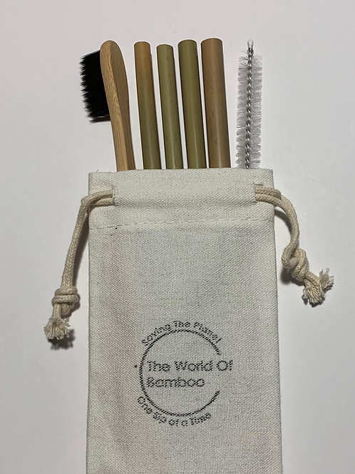 Bamboo toothbrush straw bundle