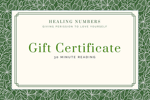 30 Minute Numerology Reading Gift Certificate