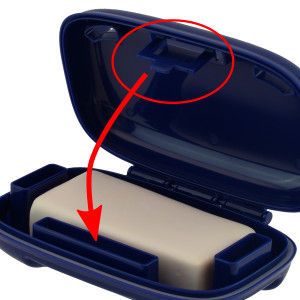 Portineer Carry-Dri Max travel soap holder with protected latch