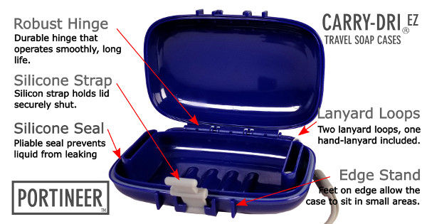 Portineer Carry-Dri EZ Travel Soap Case features air vents lanyard edge stand
