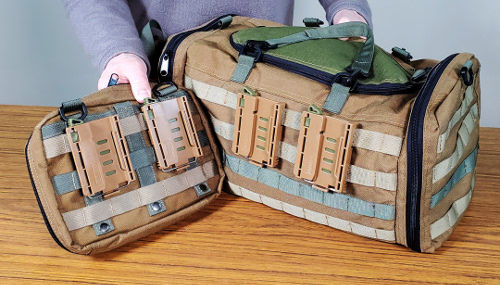 Multiple Portineer P1 MOLLE Connectors used on larger bags