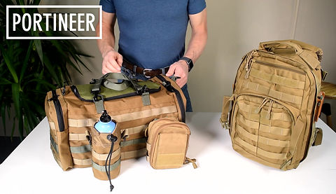With Portineer bags and P1 connector, quickly change bags. Make your own modular bag system.