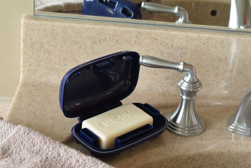 Portineer Carry-Dri Max travel soap case on a bathroom sink