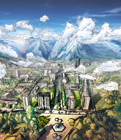 Sketchy02-aerial-city-view-by-the-mountain