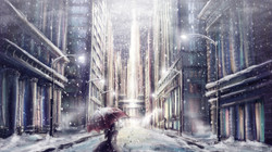 Sketchy10-girl-walking-on-the-street-in-the snow