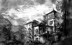 Sketchy03-black-and-white-house-with-trees