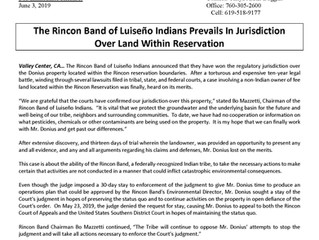 The Rincon Band of Luiseño Indians Prevails In Jurisdiction Over Land Within Reservation