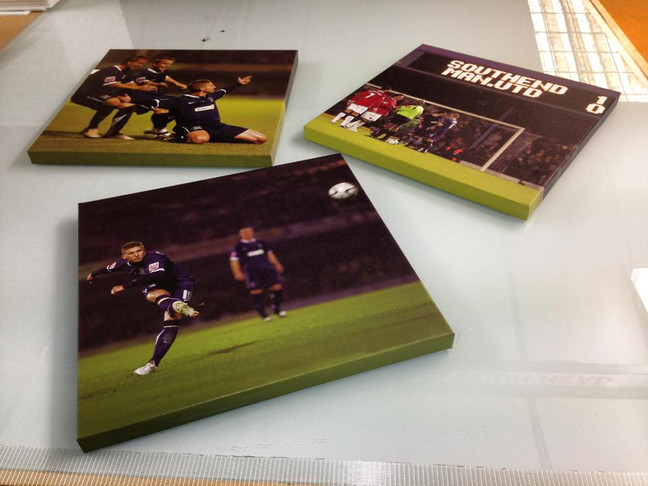 A trio of canvas prints for a southend United fan who wants to remember them beating manchester Unit