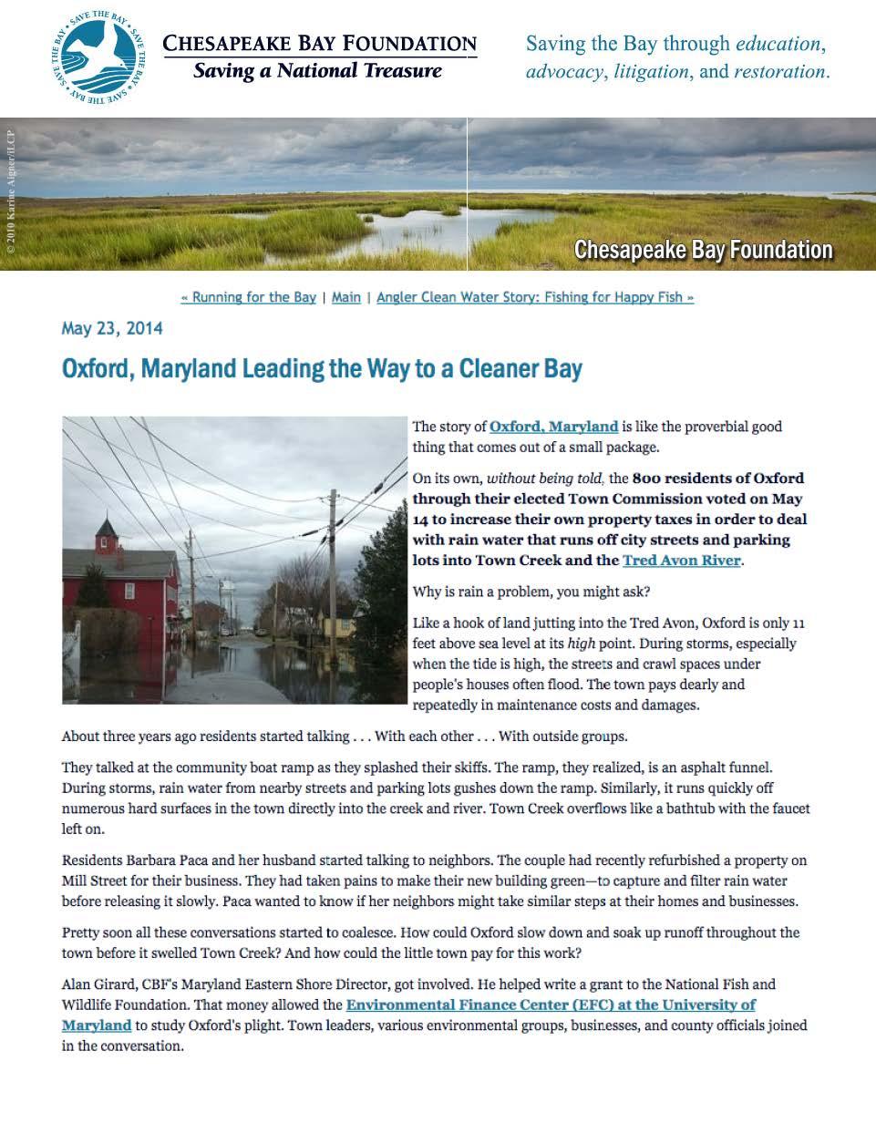 2014_Chesapeake Bay Foundation Cover