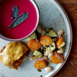 Beetroot + Sage Soup with Spiced Squash Roll