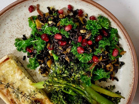 Black Rice, Turmeric Onion + Kale Salad