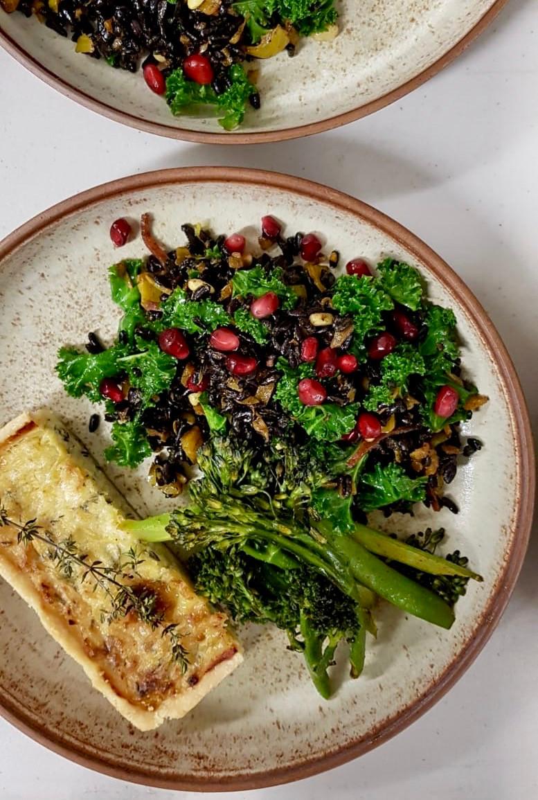Black Rice, Tumeric Onion and Kale Salad