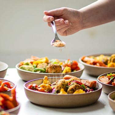 Cumin + Carrot Fritters, Roasted Autumn Vegetables, Quinoa + Lentil Herb Salad