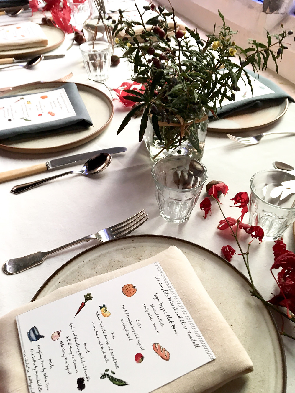 The Complete Retreat Yoga Supper Club Manchester table setting