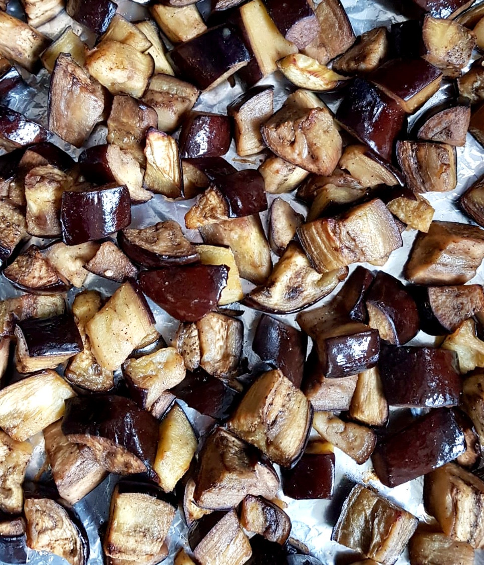 Roasted Aubergines from International Womens day Yoga Supper Club Manchester