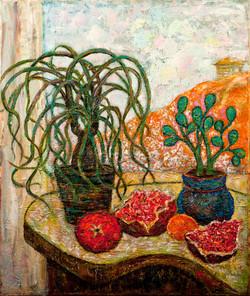 Pomegranates and plants.