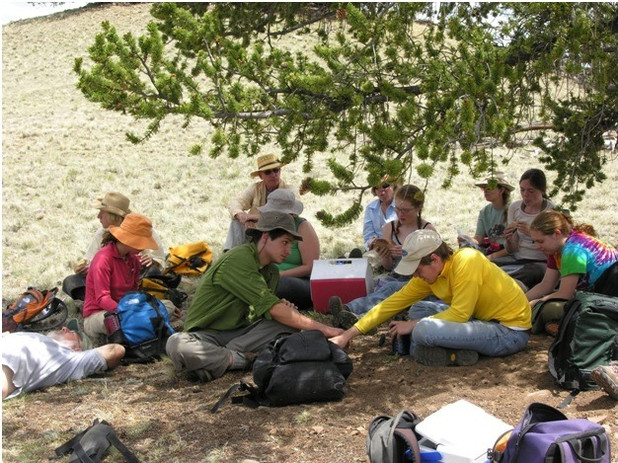 Crew of Students who worked with SPArP take a break for lunch.  A number of students who worked on the project became professional archaeologists, two of them right here in Colorado.