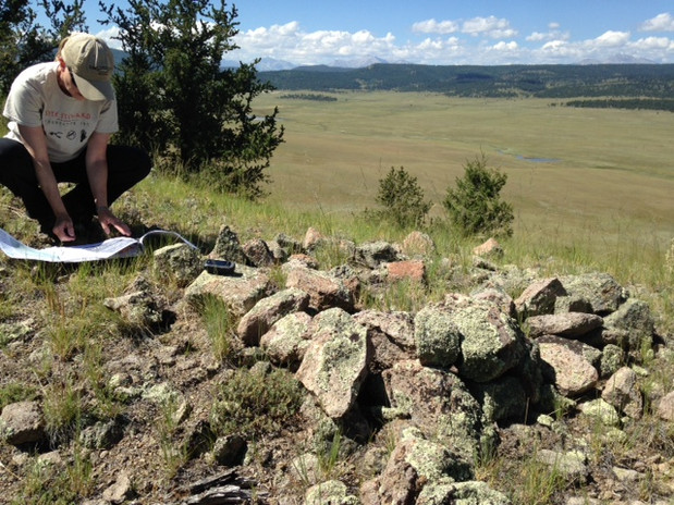 Recording a collapsed rock cairn