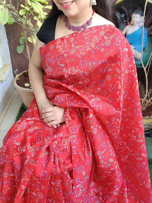 Bright red semi silk saree