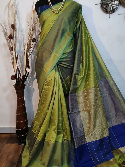 Raw silk with Khadi Pallu and Contrast Blouse