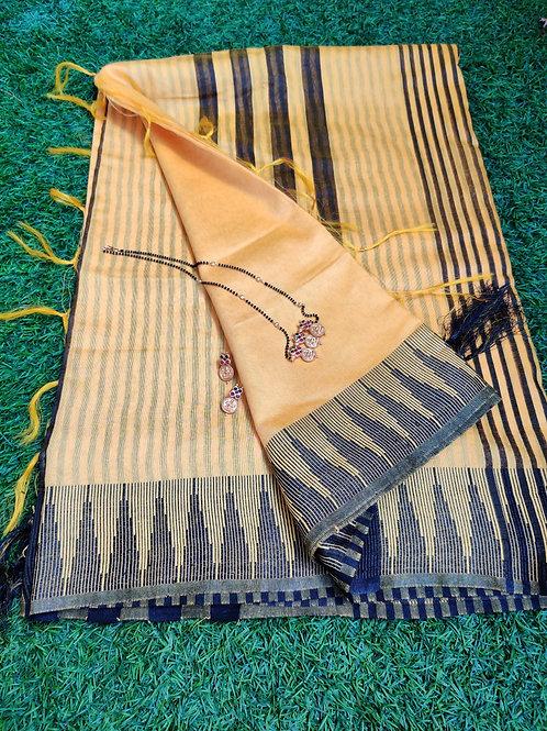 Yellow saree with matte finish set